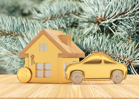 House, Car and Coin icons against the background of pine branches. 3D illustration