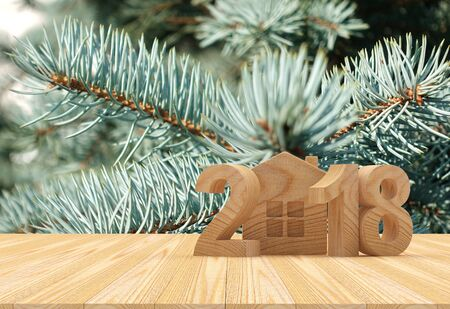 Wooden numbers 2018 New Year and house icon against the background of pine branches. 3D illustration Reklamní fotografie
