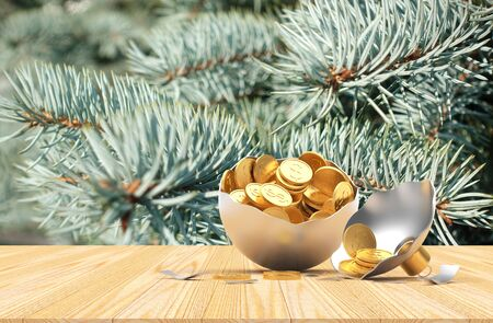 Broken silver Christmas ball full of golden coins on a wooden floor against the background of pine branches. 3D illustration