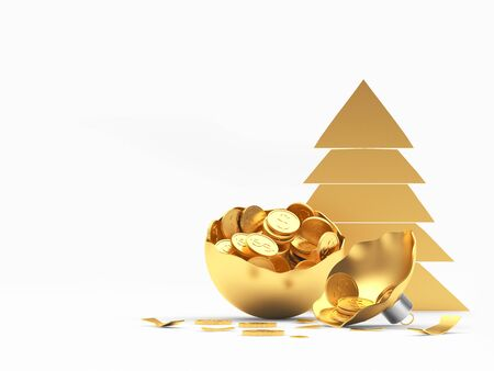 Golden Christmas tree icon and broken Christmas ball full of coins with space for text on white. 3D illustration Stock Photo