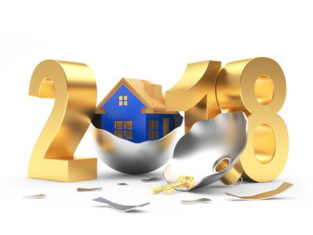 Golden number 2018 with blue house icon on broken silver Christmas ball. 3D illustration