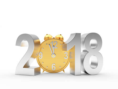 2018 New Year silver number and golden alarm clock on white. 3D illustration