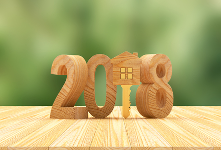 2018 New Year wooden number and key-house icon on a green blurred background. 3D illustration Stock Photo