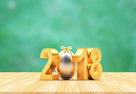 Golden number 2018 Easter holiday and silver Easter egg with space for text on a green blurred background. 3D illustration Stock Photo