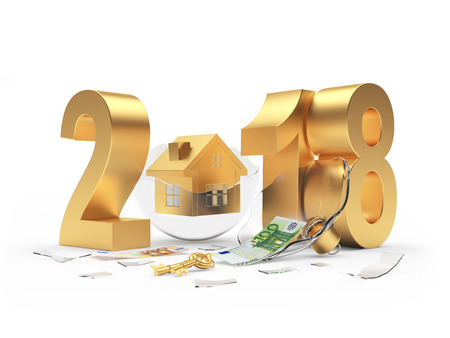 Golden number 2018 and house icon on broken Christmas ball with euro bill. 3D illustration