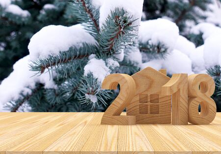 2018 wooden number and house icon with snow-covered fir branches and space for text. 3D illustration