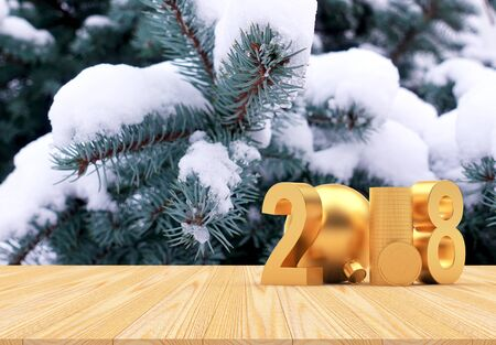 Golden numbers 2018 and stack of coins with dollar sign against the background of snow-covered fir branches with space for text. 3D illustration