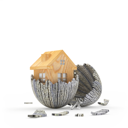 Real estate concept. New wooden house icon hatching from an old broken egg. 3D illustration
