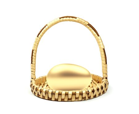 Small wicker basket with a golden egg. 3D illustration Stock Photo