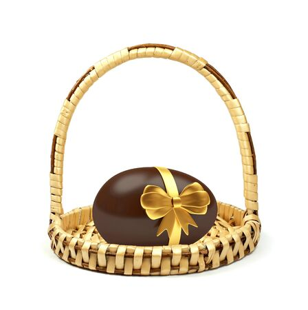 Little basket with a chocolate Easter egg, decorated with golden ribbon, isolated on white background. 3D illustration