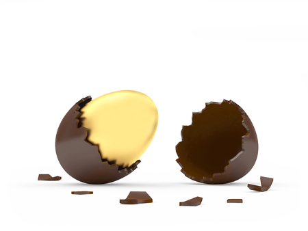 Golden Easter egg in a broken chocolate eggshell isolated on white background.3D illustration Фото со стока