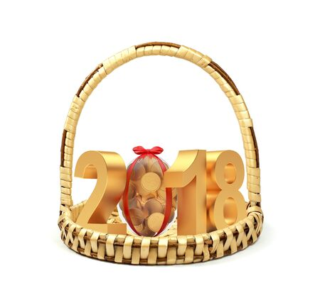 Golden number 2018 Easter holiday with Easter egg full of coins on wicker basket on white. 3D illustration Stock Photo