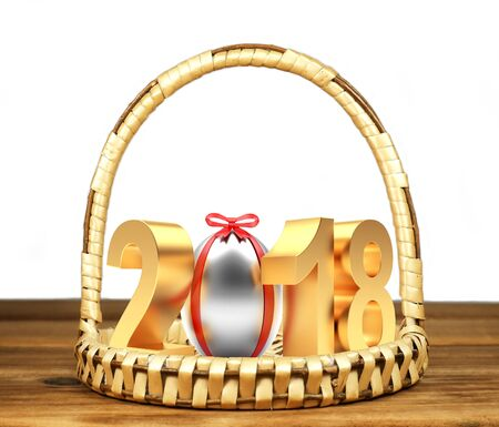Golden number 2018 Easter holiday with silver Easter egg on wicker basket. 3D illustration