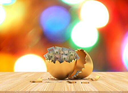 Golden broken egg with dollar bills inside against the background of blurry bokeh lights. 3D illustration Stock Photo