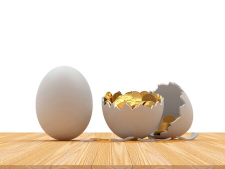 White egg and broken egg shell with golden coins inside isolated on white background. 3D illustration Stock Photo