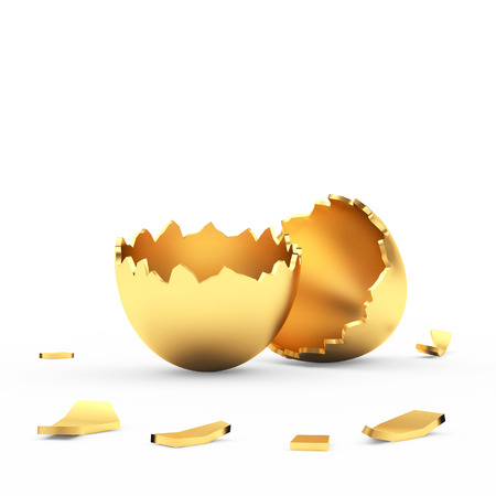 Broken empty golden Easter eggshell isolated on white. 3D illustration