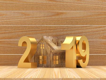Real estate concept. Golden numbers 2019 3D illustration
