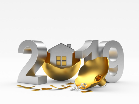 2019 Real Estate Concept. Silver 2019 isolated on white background. 3D illustratio
