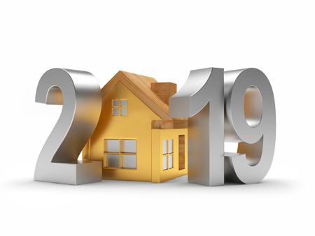 Real estate concept. Silver 2019 New Year and golden house icon on white background. 3D illustration