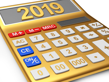 Golden electronic calculator with number 2019 on the display on white background. 3D illustration