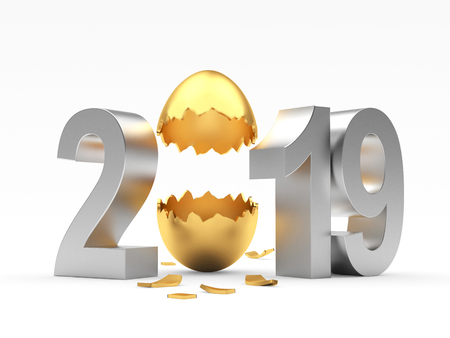 2019 Easter holiday. Silver numbers and empty eggshell isolated on a white background. 3D illustration