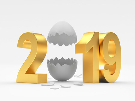 2019 Easter holiday. Golden eggshell isolated on a white background. 3D illustration Stock Photo