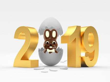2019 Easter Eggs 3D illustration