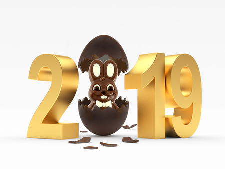 2019 Easter eggs isolated on a white background. 3D illustration
