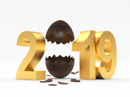 2019 Easter holiday. Golden eggshell and eggshell isolated on white background. 3D illustration