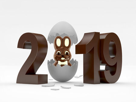 2019 chocolate number and white rabbit in broken white eggshell. 3D illustration Reklamní fotografie
