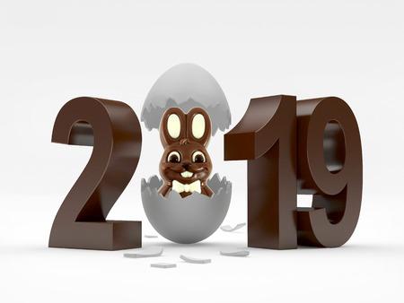 2019 chocolate number and white rabbit in broken white eggshell. 3D illustration Stock Photo