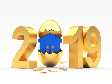 2019 Osterei isoliert auf weiss. 3D-Darstellung
