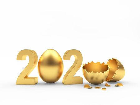Golden 2020 and Easter egg and broken empty egg shell isolated on a white background. 3D illustration
