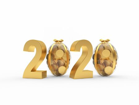Golden 2020 with transparent Easter eggs full of coins isolated on a white background. 3D illustration Stok Fotoğraf