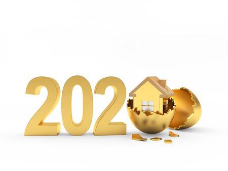 Numéros 2020 et icône de la maison dorée à l'intérieur sur un œuf de pâques cassé isolé sur fond blanc. illustration 3D Banque d'images