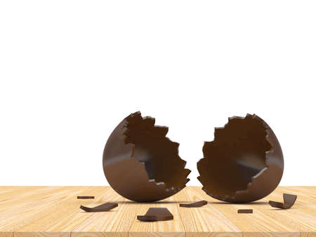 Chocolate empty broken egg shell on a wooden floor on a white background. 3D illustration