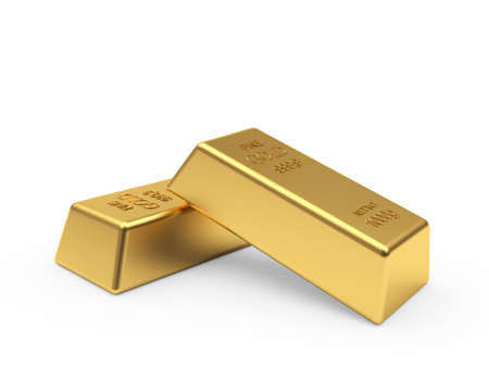 Two gold bullion isolated on a white background. 3D illustration