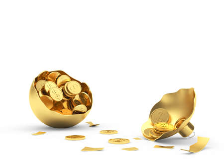 Golden broken egg shell full of coins isolated on a white background. 3D illustration