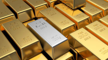 A lot of stacked gold bars and one silver as a background. 3D illustration Banque d'images