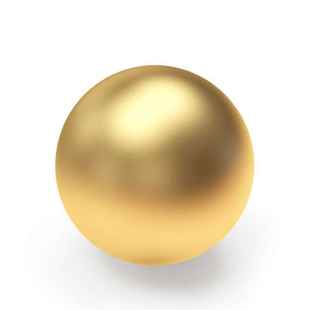 One golden ball or sphere isolated on a white background close-up. 3D illustration Stock fotó