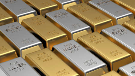 Rows of gold and silver bars close-up as background. 3D illustration