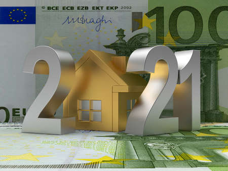 Number 2021 with golden house icon on euro bills. 3D illustration Stock Photo