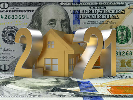 Number 2021 with golden house icon on dollar bills. 3D illustration Stock Photo