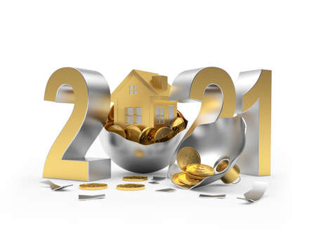 Golden 2021 and house icon on broken Christmas ball with coins isolated on white Stock Photo