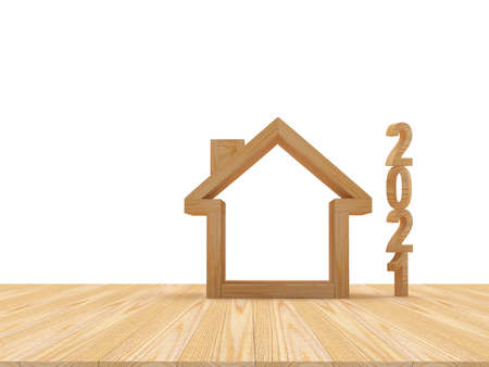 Vertical wooden numbers 2021 and empty house icon on wooden surface on white. 3D illustration Stock Photo