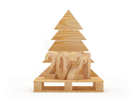 2021 number on wooden pallet and Christmas tree isolated on a white background. 3D illustration.