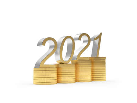 Golden 2021 on a graph of stacks of coins isolated on white background. 3D illustration