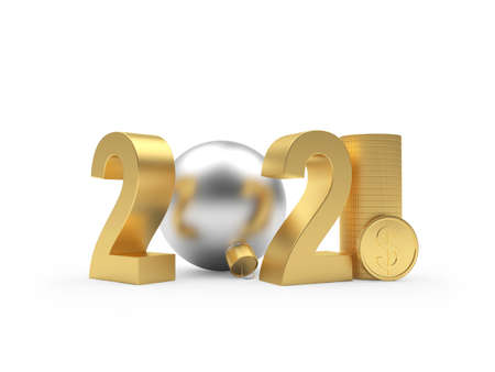 Number 2021 and silver christmas ball with dollar coins isolated on white. 3D illustration Stock Photo
