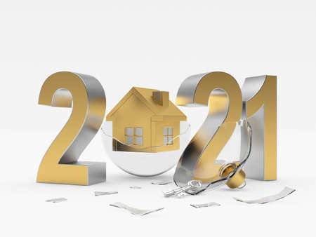 Gold number 2021 and broken transparent Christmas ball with house icon isolated on white background. 3d illustration Banque d'images