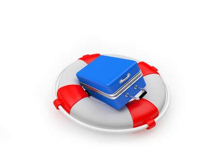 Blue travel suitcase inside the lifebuoy. 3D illustration